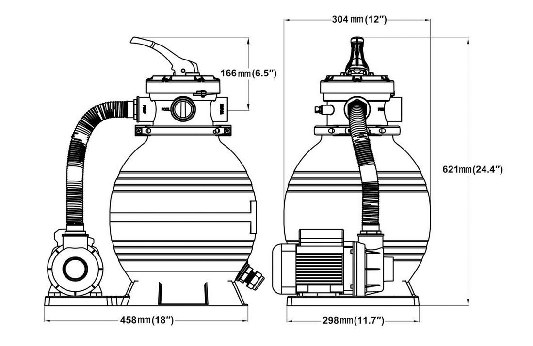 Technische Zeichnung vom Deuba Poolfilter